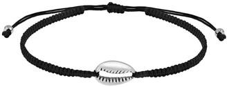 Aeravida Handmade Beach Vibe Cowrie Shell Sterling Silver Charm on Black Rope Adjustable Bracelet