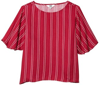 BB Dakota Printed Rayon Crepe Stripe Blouse with Flutter Sleeve (Lipstick Red) Women's Clothing