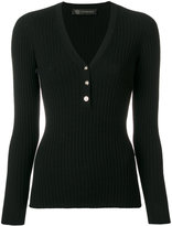 Versace ribbed Medusa button jumper