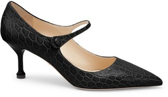 Prada Croc-Embossed Leather Mary Jane Pumps