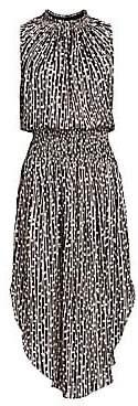 Halston Women's Sleeveless Smocked Midi Dress