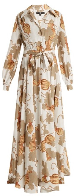 Edward Crutchley Tie Waist Leaf Print Woven Dress - Womens - White Multi