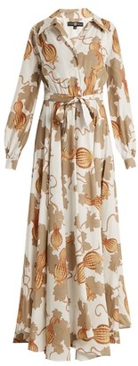 Edward Crutchley Tie-waist Leaf-print Woven Dress - Womens - White Multi