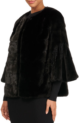 Gorski Horizontal Mink Fur 3/4 Bell Sleeve Jacket W/ Crystal Detail