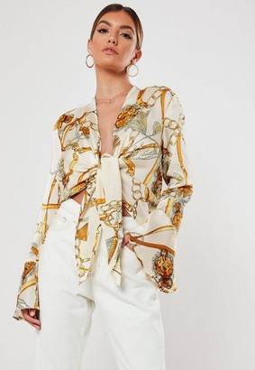 Missguided Cream Satin Chain Print Knot Front Blouse
