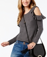 INC International Concepts Petite Ruffled Cold-Shoulder Sweater, Created for Macy's