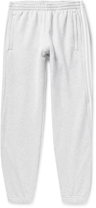 adidas Tapered Logo-Embroidered Striped Fleece-Back Cotton-Jersey Sweatpants