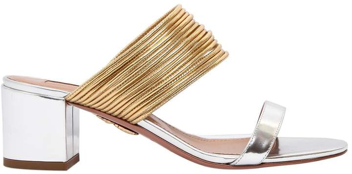 Aquazzura 50mm Rendez Vous Metallic Sandals