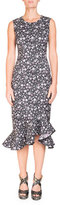 Erdem Louisa Floral-Print Sleeveless Fitted Midi Dress with Flounce Hem