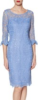 Gina Bacconi Benita Embroidered Mesh Dress, China Blue
