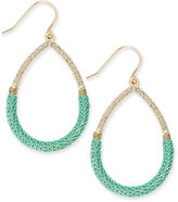 ABS by Allen Schwartz Gold-Tone Teal Wire-Wrapped Teardrop Earrings