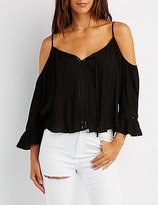 Charlotte Russe Lattice-Inset Tie-Front Cold Shoulder Top