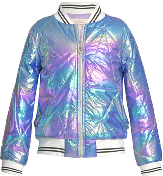 Hannah Banana French Bulldog Metallic Baseball Jacket, Size 7-14