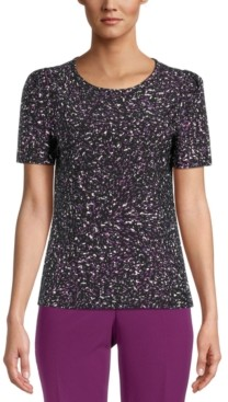 Bar III Printed Puff-Sleeve Blouse, Created for Macy's