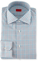 Isaia Check Long-Sleeve Dress Shirt, Gray