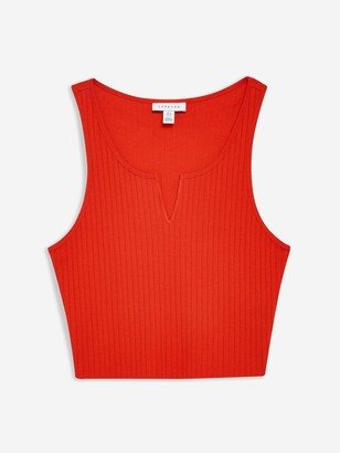 Topshop Noa Notch Vest - Red