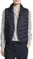 Brunello Cucinelli Notch-Collar Zip-Front Monili Puffer Vest, Navy
