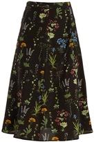 Altuzarra Flora ruched-seam floral-print silk skirt