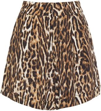 R 13 Leopard-print Woven Shorts