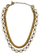 Miriam Haskell Crystal & Pearl Double Strand Necklace