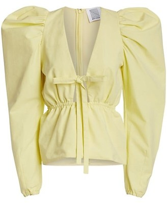 Rosie Assoulin Victorian Puff-Sleeve Top