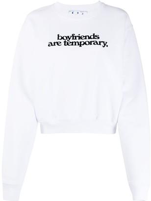 Off-White Boyfriends Cropped Crewneck White Black