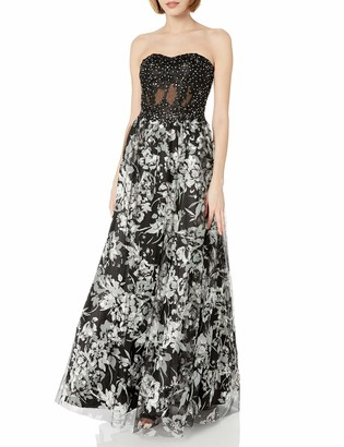 Blondie Nites Women's Long Strapless Bustier Printed Mesh Skirt