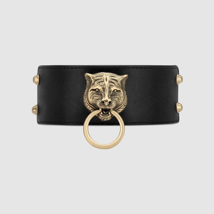 Gucci Leather choker with feline head