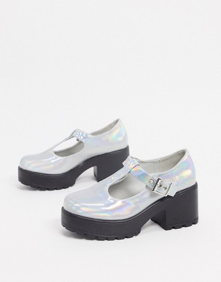 Koi Footwear Sai vegan mary jane shoes in silver holographic