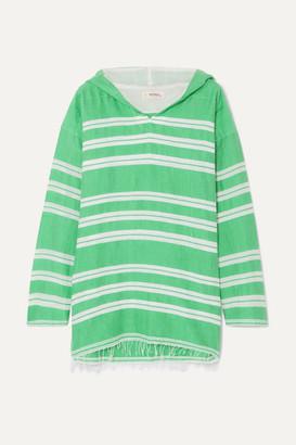 Lemlem Net Sustain Doro Frayed Striped Cotton-blend Gauze Hoodie - Light green