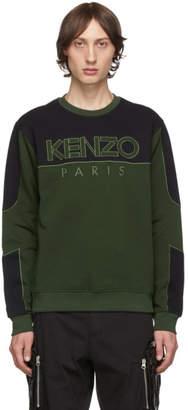 Kenzo Khaki and Black Mixed Mesh Sweatshirt