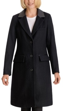 BCBGeneration Faux-Leather-Collar Reefer Coat