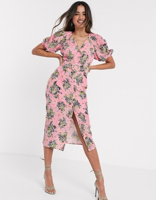 ASOS DESIGN broderie button through midi tea dress in floral print with pearl belt