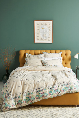 Anthropologie Woven Bellezza Duvet Cover By in Blue Size Q top/bed