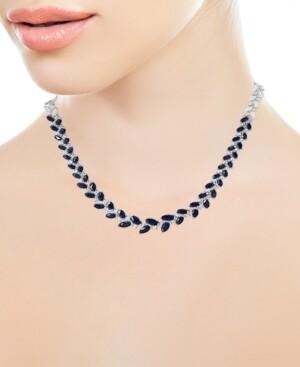 "Effy Sapphire (7-7/8 ct. t.w.) & Diamond (3/4 ct. t.w.) 16"" Statement Necklace in 14k White Gold"
