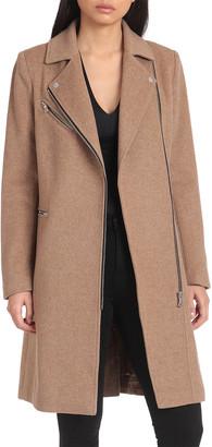 AVEC LES FILLES Twill Wool-Blend Moto Coat