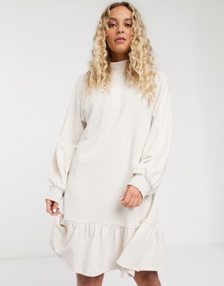 Monki organic cotton jersey smock dress in beige