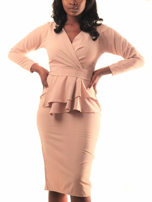 Maisalo Women's Jada Structured Peplum Detail Long Sleeve Midi Work