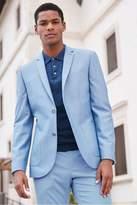 Mens Next Light Blue Skinny Fit Cotton Blend Suit: Jacket - Blue