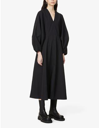 Studio Nicholson Convex-sleeve cotton midi dress