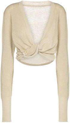 Jacquemus Le Gilet Noue linen knit crop top