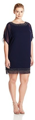 Xscape Evenings Women's Plus Size Short Chiffon Dress with Bead Trim Navy/Gunmetal 22W