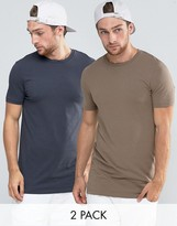 Asos 2 Pack Longline Muscle T-shirt With Crew Neck In Washed Black/brown