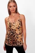 boohoo Bella Leopard Print Woven Drape Back Cami