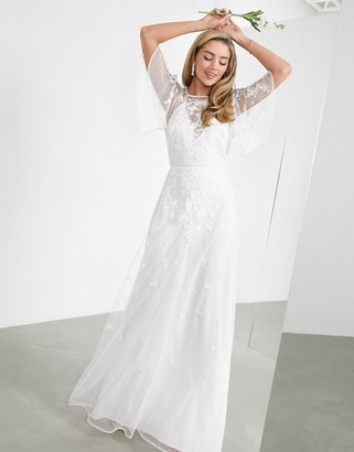 ASOS EDITION Annie floral embroidered flutter- sleeved wedding dress