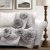 """Lush Decor 16T000200 Fiorella Throw Blanket, 60"""" x 50"""", Gray"""