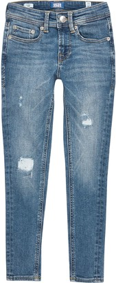 Jack and Jones River Island Boys Blue ripped skinny jeans