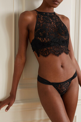 Coco de Mer Olinda Cutout Satin-trimmed Lace Briefs - Black