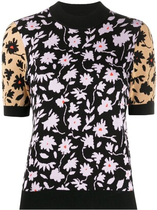 Chinti and Parker Floral Print Short Sleeve Top