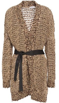 Brunello Cucinelli Grosgrain-trimmed Embellished Open-knit Cardigan